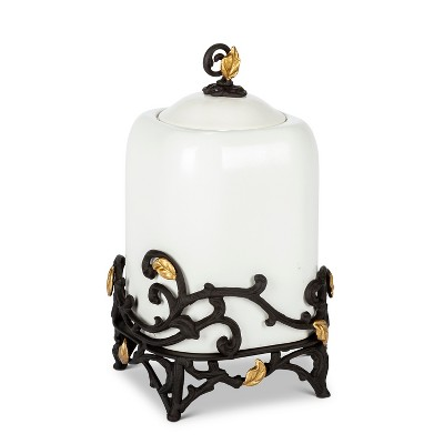 GG Collection 13-Inch Tall Gold Leaf Ceramic Canister with White Stoneware and Espresso Brown Vines and Gold Leaf Accented Base.