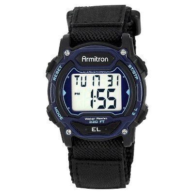 Men's Armitron Sport Digital Chronograph Hoop and Loop Closure Strap Watch - Black