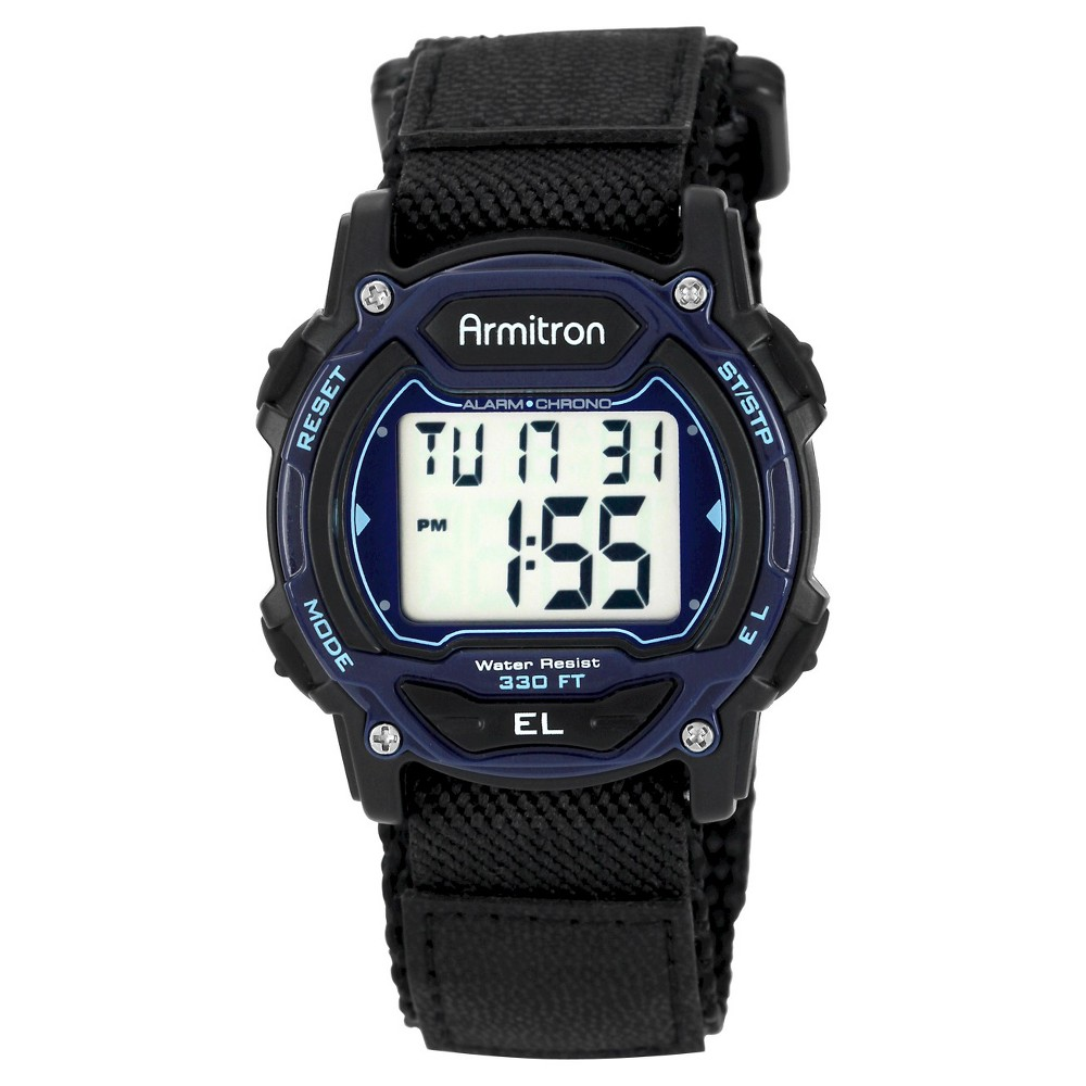 Men 39 S Armitron Sport Digital Chronograph Hoop And Loop Closure Strap Watch Black