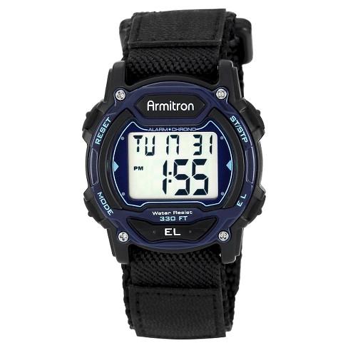 Men's Armitron Sport Digital Chronograph Hoop and Loop Closure Strap Watch - Black - image 1 of 1