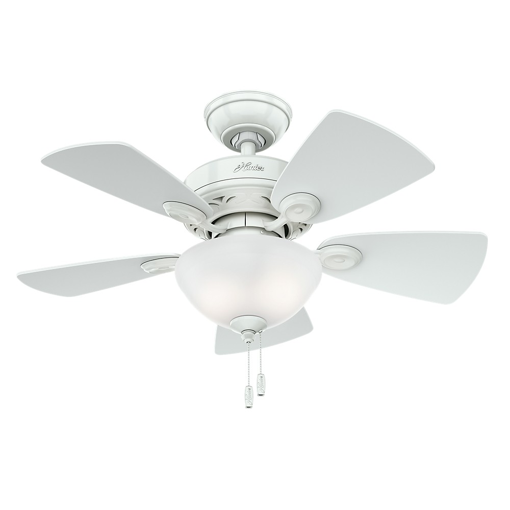 "Image of ""34"""" Watson Snow White Ceiling Fan with Light - Hunter Fan"""