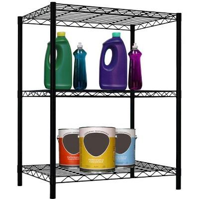 Home Basics 3 Tier Steel Wire Multi-Purpose Free-Standing Heavy Duty Shelf, Black