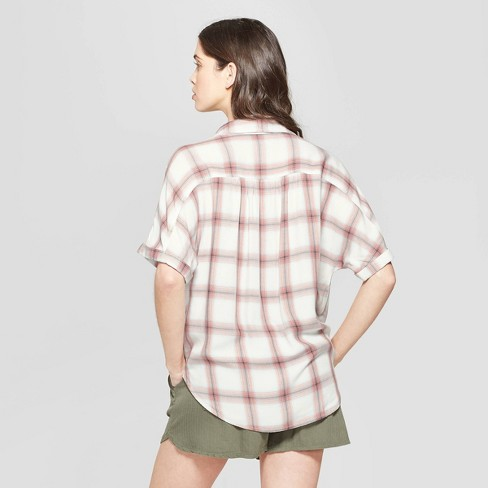 527ef293c4c04 Women s Plaid Short Sleeve Collared Camp Shirt - Universal Thread™ Pink    Target
