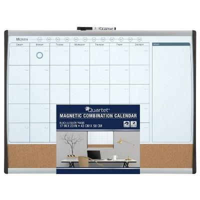 "Quartet 17"" x 23"" Magnetic Combination Calendar Board - Black/Silver Frame"