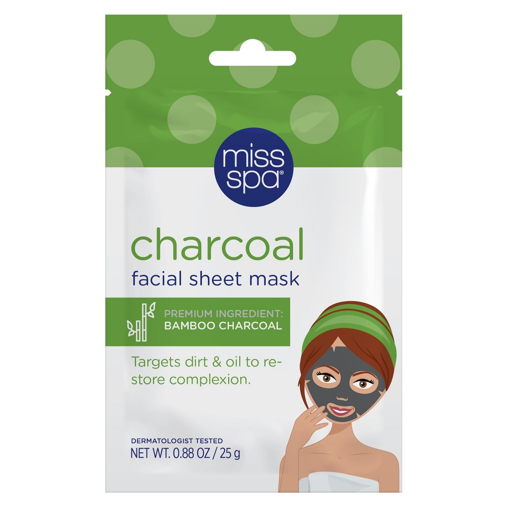 Image of Unscented Miss Spa Clean and Reveal Charcoal Clarifying Facial Sheet Mask - 1ct