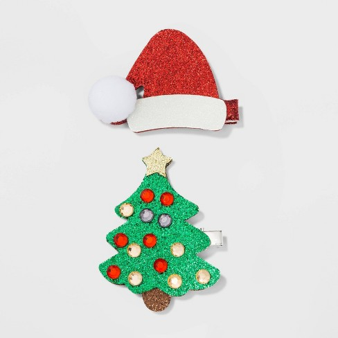 Santa Glitter Faux Leather Hat and Christmas Tree with Gems Hair Clips and Pins - image 1 of 2