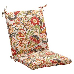 Outdoor Chair Cushion - Green/Off-White/Red Floral