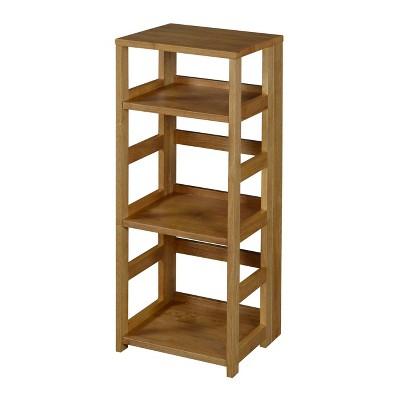 "34"" Cakewalk High Square Folding Bookcase Medium Oak - Regency"