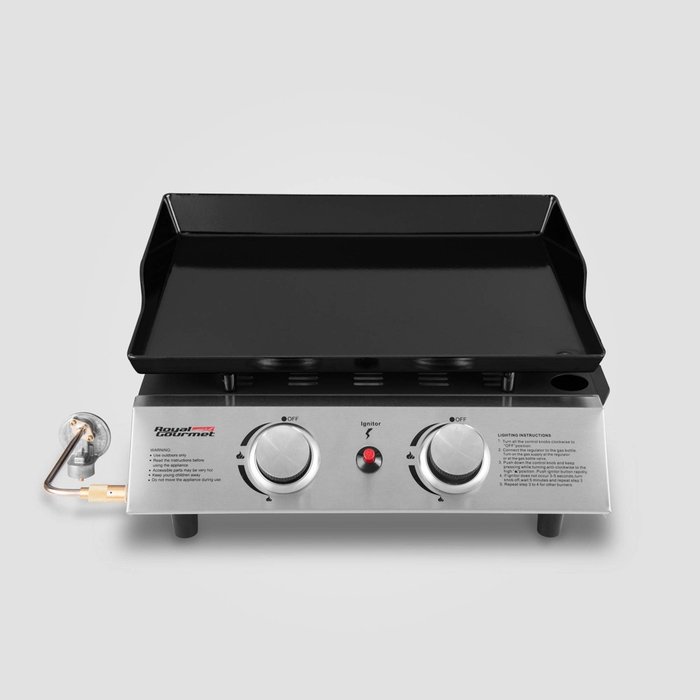 Portable 2 Burner Propane Gas Grill Griddle PD1200 Black – Royal Gourmet 54442147