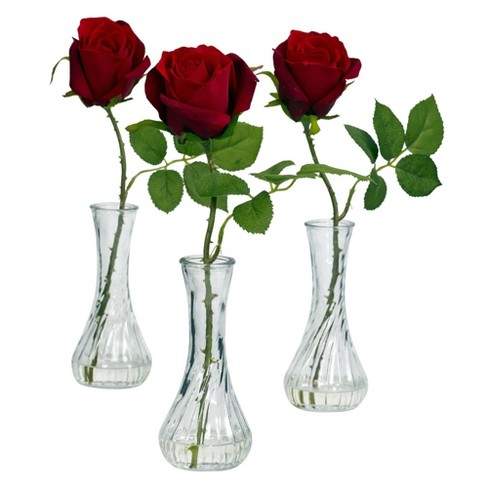 """12"""" x 3"""" 3pc Artificial Rose in Vase Set Red - Nearly Natural - image 1 of 3"""