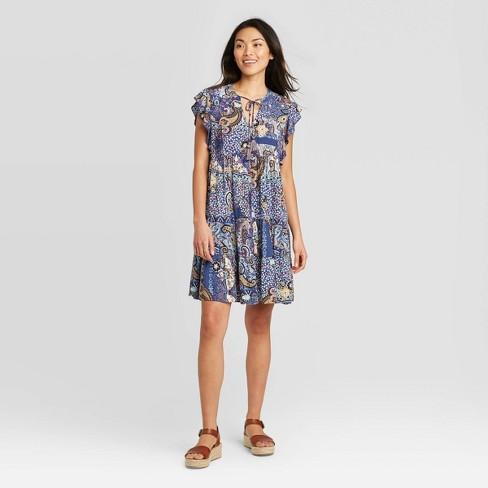 Women's Floral Print Flutter Short Sleeve Dress - Knox Rose™ Navy - image 1 of 2