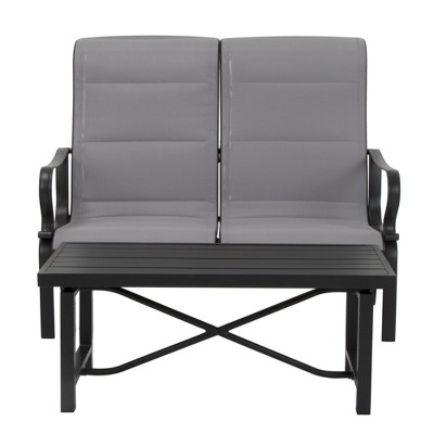 """Cosco """"It's a Snap"""" 2pk Padded Sling Motion Loveseat & Table - Charcoal Gray/Light Gray"""