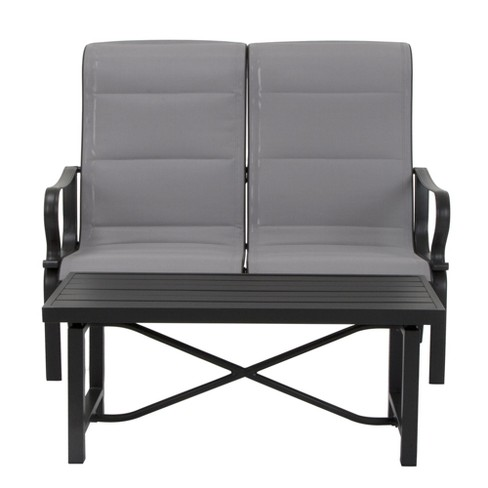 Cool Cosco Its A Snap 2Pk Padded Sling Motion Loveseat Table Charcoal Gray Light Gray Evergreenethics Interior Chair Design Evergreenethicsorg