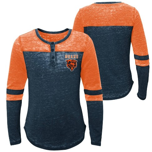 new style 95d1a 00ac5 NFL Chicago Bears Girls' Reverse Pass Burnout Long Sleeve Henley T-Shirt - L