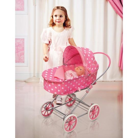 Badger Basket 3-in-1 Doll Carrier/Stroller - Pink & White Polka Dots image number null