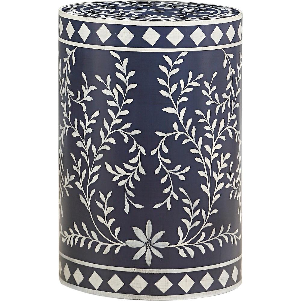 Ellen Round Drumstyle Accent Table Blue/White - Treasure Trove