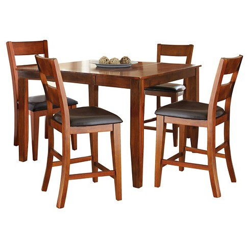 5 Piece Amanda Counter Height Dining Table Set Wood Brown