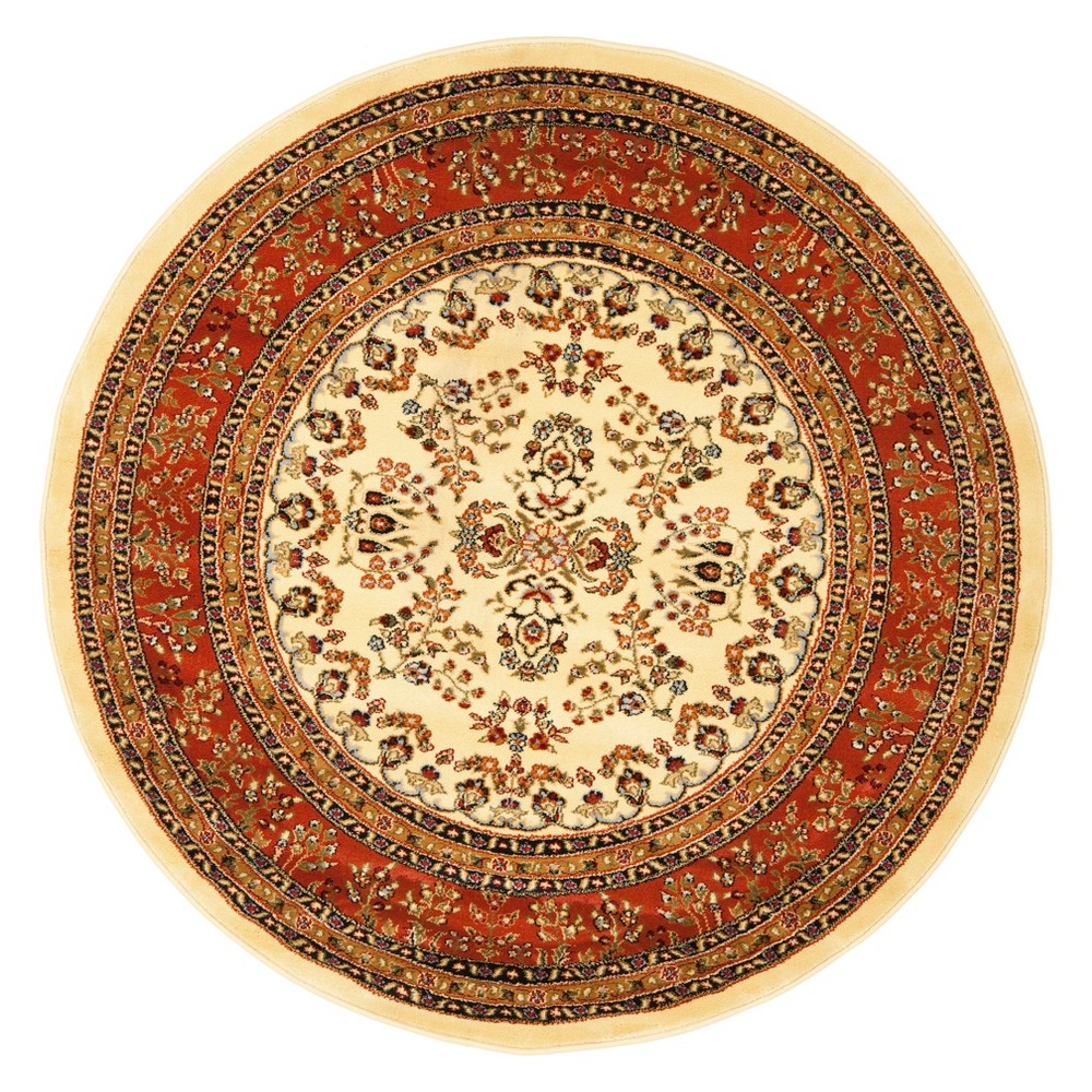 5'3 Floral Loomed Round Area Rug Ivory/Rust (Ivory/Red) - Safavieh