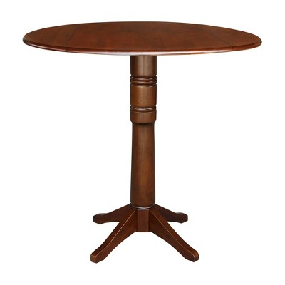 Thea Round Dual Drop Leaf Table Espresso Brown - International Concepts