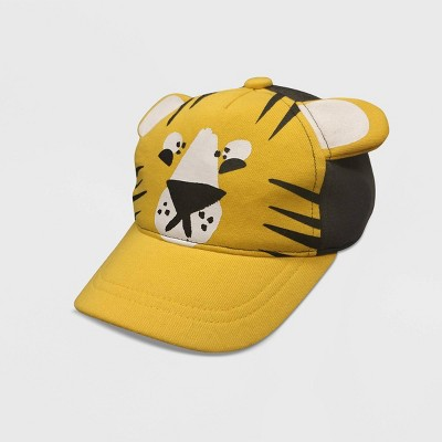 Toddler Girls' 3D Tiger Low Pile Terry Plush Baseball Hat - Cat & Jack™ Yellow 2T-5T