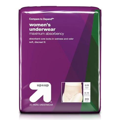 Women's Underwear for Adult Incontinence Care Maximum Absorbency  Small/Medium - Up&Up™ - image 1 of 3