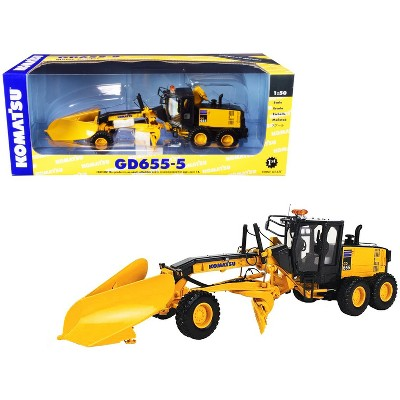 Komatsu GD655-5 Motor Grader with V-Plow and Wing 1/50 Diecast Model by First Gear