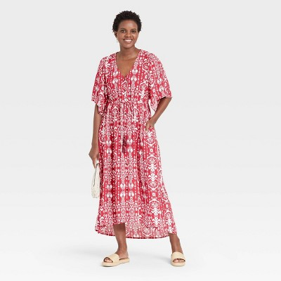 Women's Floral Print 3/4 Sleeve Dress - Knox Rose™ Red