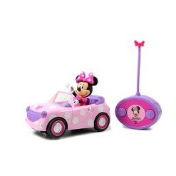 """Jada Toys Disney Junior RC Minnie Bowtique Roadster Remote Control Vehicle 7"""" Pink with White Polka Dots"""