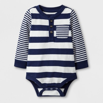 Baby Boys' Stripe Long Sleeve Bodysuit with Chest Pocket - Cat & Jack™ Navy 6-9M