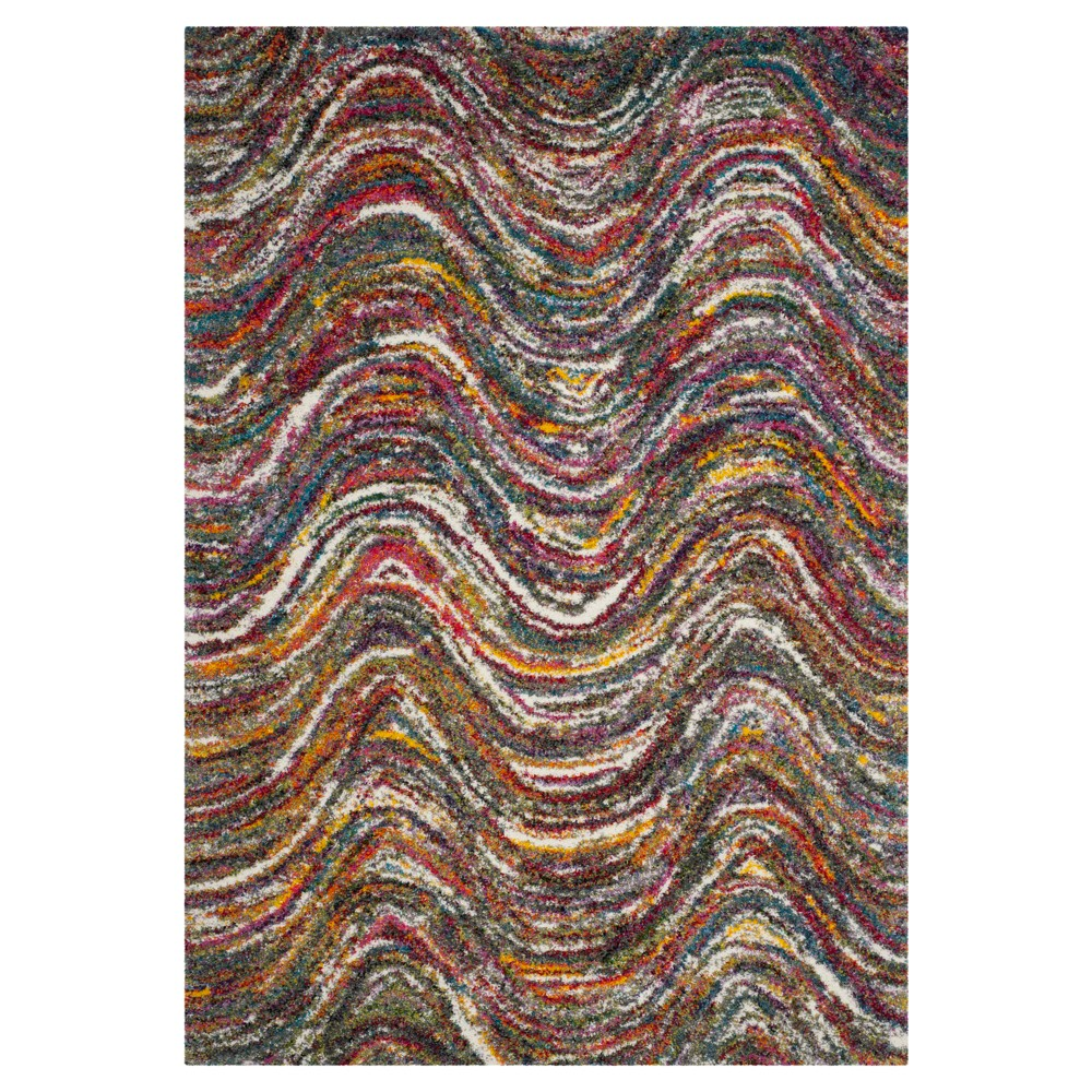 Multi-Colored Abstract Loomed Area Rug - (6'7