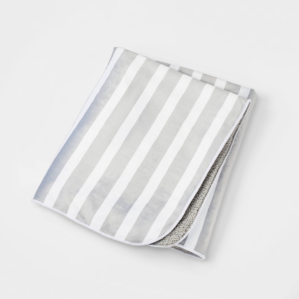 Plush Velboa Baby Blanket Gray Stripe Cloud Island 8482