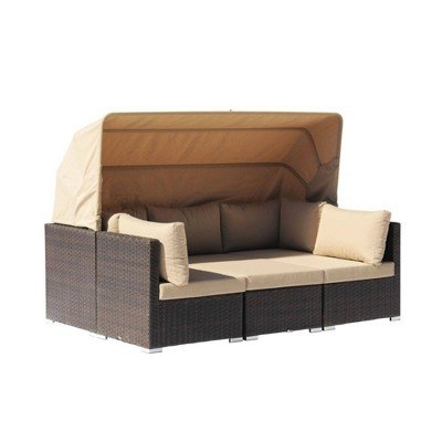 Aurora 4pc Sectional to Daybed Combo - Brown - Courtyard Casual