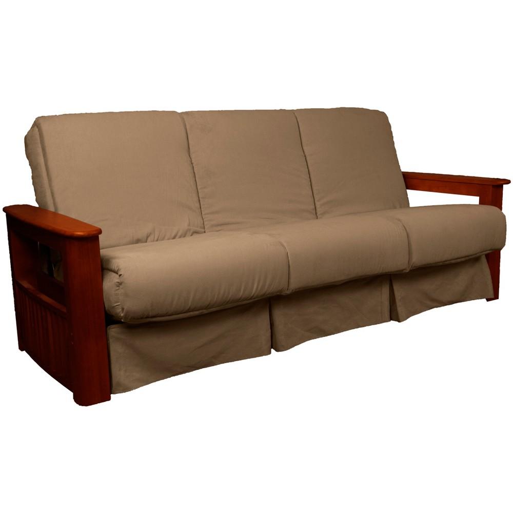 Flip Top Arm Perfect Futon Sofa Sleeper Mahogany Wood Finish Mocha Brown - Epic Furnishings