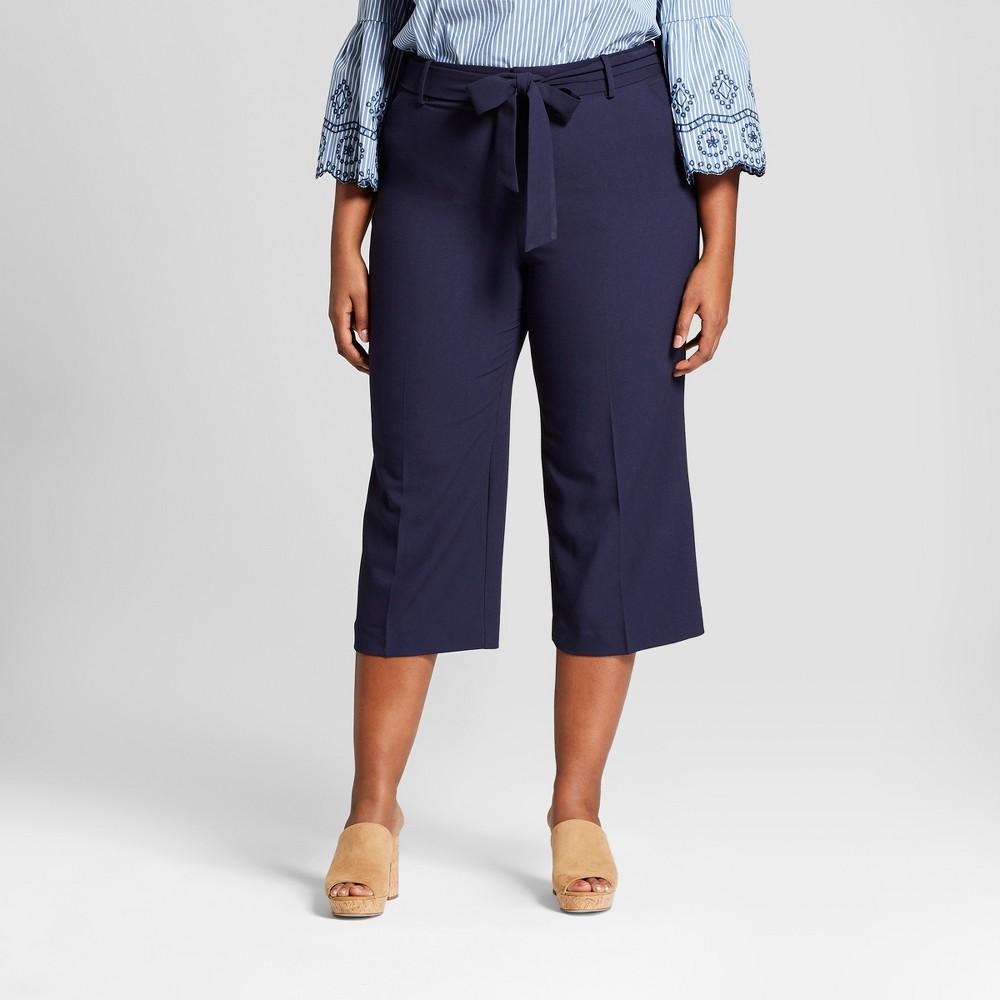Women's Plus Size Wide Leg Crop Pants - Ava & Viv Navy (Blue) 14W