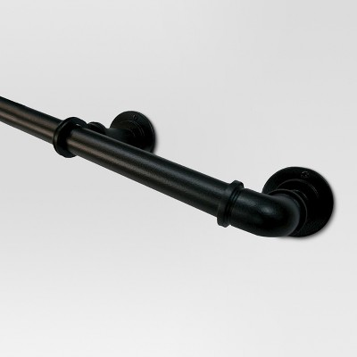 "120""-170"" Pipe French Curtain Rod Matte Black - Threshold™"