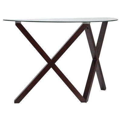 Alcala Contemporary Glass Top Sofa Table - Espresso - Inspire Q