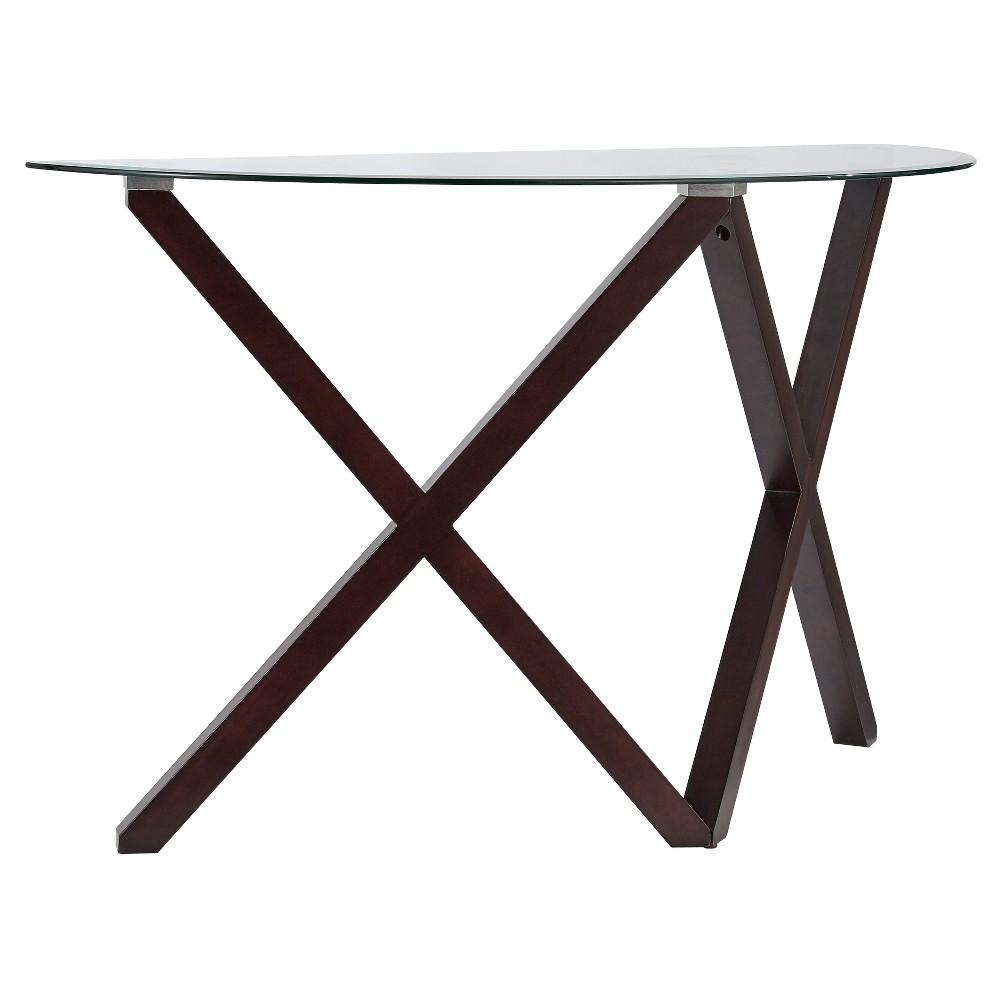 Alcala Contemporary Glass Top Sofa Table - Espresso - Inspire Q, Wood