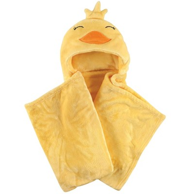 Hudson Baby Unisex Baby and Toddler Hooded Animal Face Plush Blanket - Yellow Duck One Size