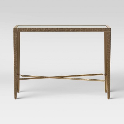 Alexandria Forged Brass Console Table with Glass Top Gold - Threshold™
