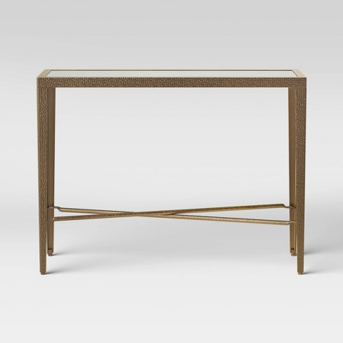 Alexandria Forged Brass Console Table With Glass Top Gold