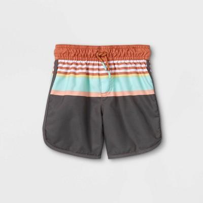 Toddler Boys' Striped Swim Trunks - Cat & Jack™ Blue/Brown/Gray