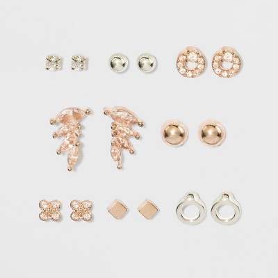 Cubic Zirconia Studs, Balls Multi Earring Set 8pc - A New Day™ Silver/Gold