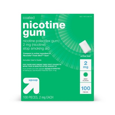 Coated Nicotine 2mg Gum Stop Smoking Aid - Cool Mint - 100ct - Up&Up™