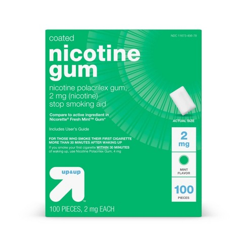 Coated Nicotine 2mg Gum Stop Smoking Aid - Cool Mint - 100ct - up & up™ - image 1 of 4