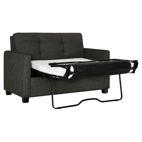 Alice Sleeper Sofa With Memory Foam Mattress Twin Grey Linen