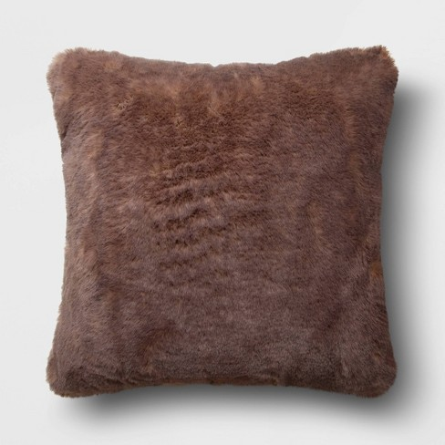 """18""""x18"""" Square Faux Fur Throw Pillow - image 1 of 4"""