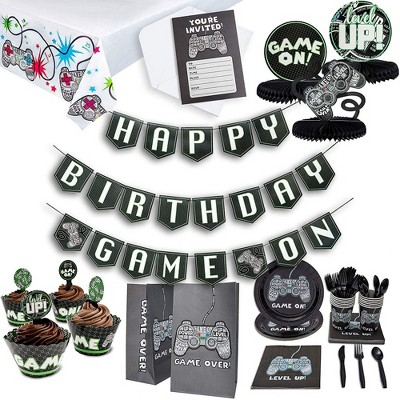Juvale 125-Piece Video Game Birthday Party Pack for 12 Gamer Decorations and Supplies