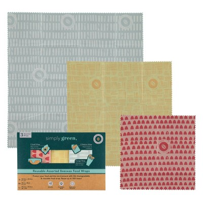 Simply Green Beeswax Food Wraps Assorted - 1 sq ft