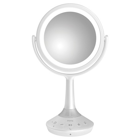 "iHome 6"" Double Sided White Vanity Mirror with Bluetooth and USB Charging - image 1 of 4"