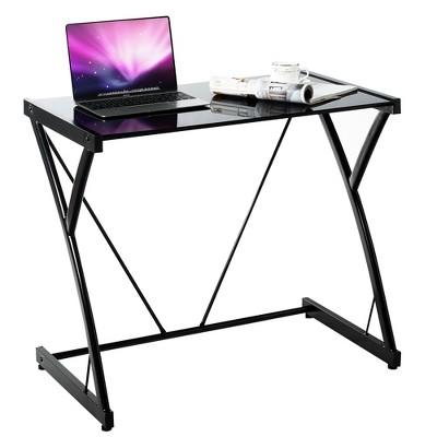 Costway Glass Top Computer Desk Laptop Writing Study Workstation Z-Shaped Metal Frame